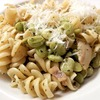 Thumb pasta  lima beans  parmesan  bacon  olive oil  spices