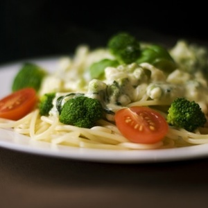 Medium food dinner pasta broccoli medium