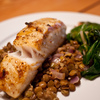 Thumb halibut on lentil with chard